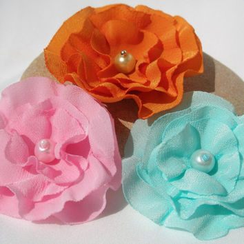 Handmade Fabric Flower Appliques,Embellishments (3 pcs)- Orange, Light  Blue, Pink