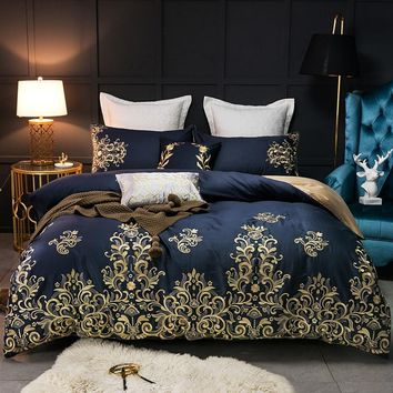 Gold Embroidery Luxury Egyptian Cotton Blue Bedding Set Queen King size 4/7Pieces Duvet cover Bed sheet/linen set Pillowcases