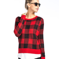 Woven Heart Plaid Womens Sweater Red Combo  In Sizes