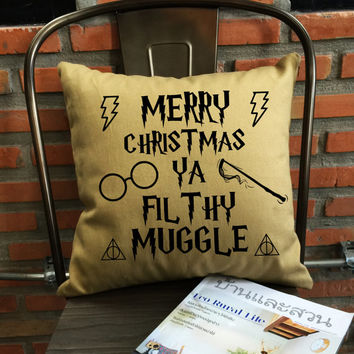 Harry Potter Pillow Cover, Merry Christmas Ya Filthy Muggle Throw Pillow cover, Ugly Christmas, cotton canvas pillow cover Pillow Cover Gift