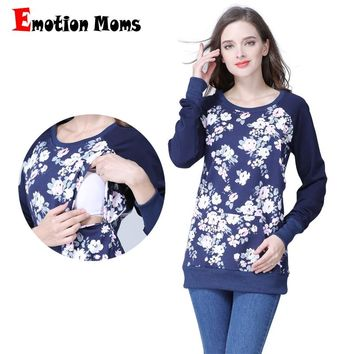 Emotion Moms Long Sleeve winter Maternity Clothes Cotton Nursing Top Breastfeeding tops for Pregnant Women maternity T-shirt New