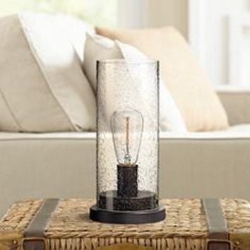 "Libby Seeded Glass 12"" High Edison Bulb Accent Lamp 