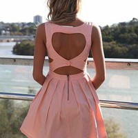 Pink Heart Cutout Dress with Fitted Bodice & Pleated Skirt