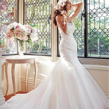 [199.99] Charming Organza Satin Mermaid Sweetheart Neckline Raised Waistline Wedding Dress With Beadings - Dressilyme.com