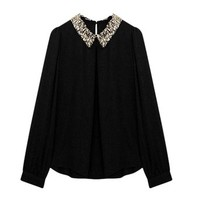 Zeagoo Women's Sequins Peter Vintage Pan Collar Puff Sheer Sleeve Loose Blouse