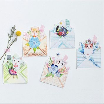 30 pcs/lot envelope cat postcard heteromorphism greeting card christmas card birthday message card gift cards