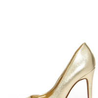 Click Your Heels Gold Pointed Pumps