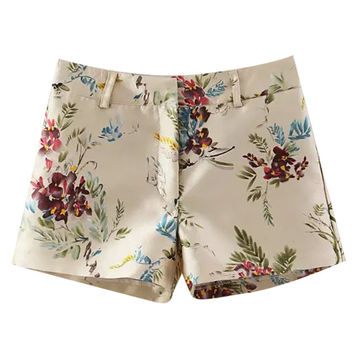 Floral Print Shorts with Pocket