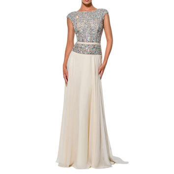 Cap Sleeves abendkleider crystal Louisvuigon Woman Rhinestone robe de soiree Long Prom Evening Dress OL102803