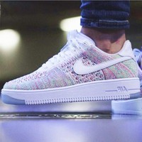 NIKE AIR Rainbow Knit Line White Fashion Men Running Sport Casual Shoes Sneakers G-AA
