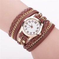 Gold & Leather Wrap Watch