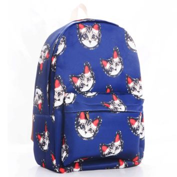Cats Korean Canvas Blue Backpack = 4887864260