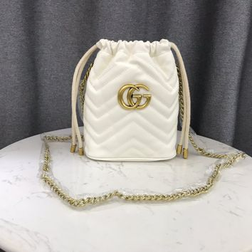 HCXX 1961 Gucci Marmont Fashion Mouth draw string Pen Container Bag White