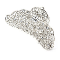 Textured Silver and Crystal Flowers Scalloped Claw Clip