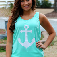 PREORDER - Anchors Aweigh! Tank: Mint/Coral