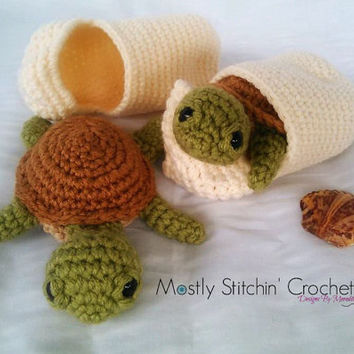 Baby Sea Turtle with Shell; CROCHET PATTERN PDF