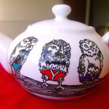 Hand Drawn Teapot  Owls in Pants by jimbobart on Etsy