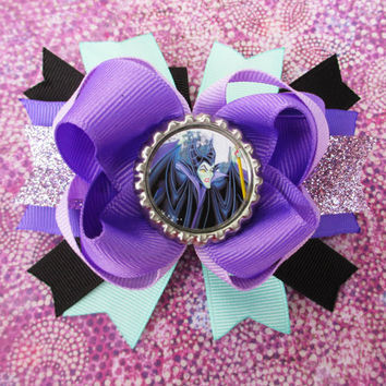 Maleficent hair bow Disney headband hair accessories geekery bottle cap Sleeping Beauty Halloween vacation girls cute fun