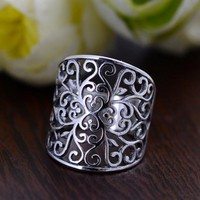 925 Sterling Silver Wide Hollow Floral Rings