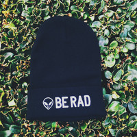 Be Rad Alien Knit Beanie Black Embroidered Toque Tuque Hat