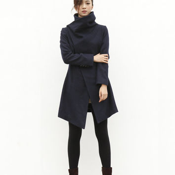 High Collar Wool Jacket Winter Wool Coat for Women in Navy Blue - Custom Made - NC498