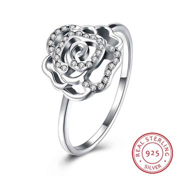 925 Sterling Silver Rings For Women Rose Flowers Cubic Zircon Fashion Sparking Party Rings Engagement Promise Jewelry (RI102595)