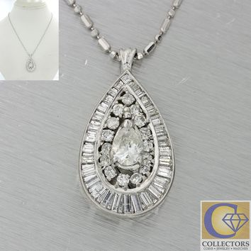 1960 Antique Art Deco Platinum 3ctw Pear Baguette Diamond Tear Drop Necklace J8