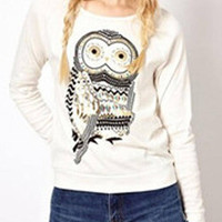 White Owl Printing Long Sleeves Top with Round Neck