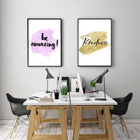 """PRINTABLE ART - Double Poster """"Be Amazing"""" & """"Kindness"""""""
