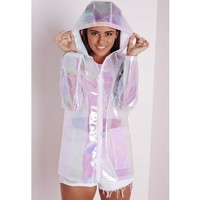 Holographic Rain Mac Pearlescent Pink - Coats and Jackets - Rain Macs - Missguided