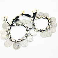 KUCHI ➳ SHELL AND COIN ANKLET PAIR