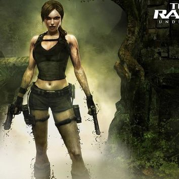 "Tomb Raider Underworld Lara  Game Watercolor inkjet Fabric poster 40"" x 24""   21"" x 13""--100"