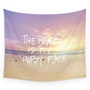 Society6 The Beach Is My Happy Place Wall Tapestry
