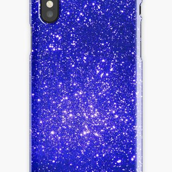 'Beautiful girly designs - blue shiny glitter' iPhone Case by Quaintrelle