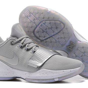 Nike Zoom Paul George PG 1  Silver / Gray   Basketball Shoes