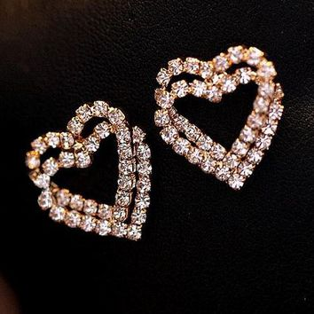 Heart Lock in Heart Rhinestone Fashion Earrings - LilyFair Jewelry