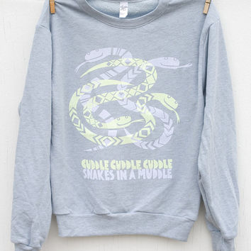 CUDDLY SNAKES - Ladies Silk Screened Pullover Sweater