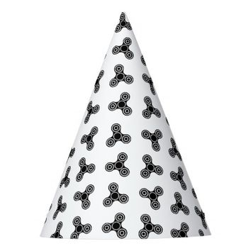Black Fidget Spinners Design Party Hat