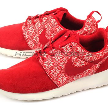 Nike Roshe One Winter Gym Red/Red-Sail Snowflake Sportstyle Running 807440-661