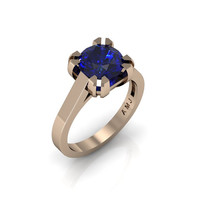 Modern 14K Rose Gold Gorgeous Solitaire Bridal Ring with a 2.0 Carat Blue Sapphire Center Stone R66N-14KRGBS