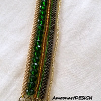 Multi Strand Bracelet Handmade Jewelry Green,Yellow,Copper,Honey Colors (B-6)