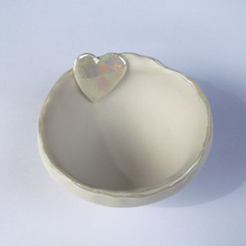 Porcelain Decorative Handmade Bowl with Heart Motif - Wedding gift, house warming present