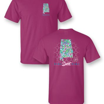 Sassy Frass Home Sweet Home Alabama AL State Design Girlie Bright T Shirt