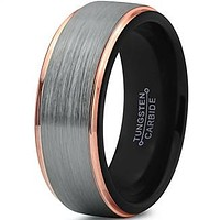 8mm Silver Brushed 18k Rose Gold Step Edge Black Tungsten Ring