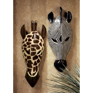 Park Avenue Collection Set Of Tribal Style Animal Masks