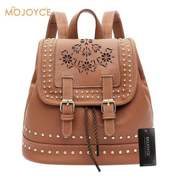Girls Hollow Flowers Rivets Pure Color Backpack Vintage Drawstring High Quality PU Leather Fashion Travel Shoulder School Bags