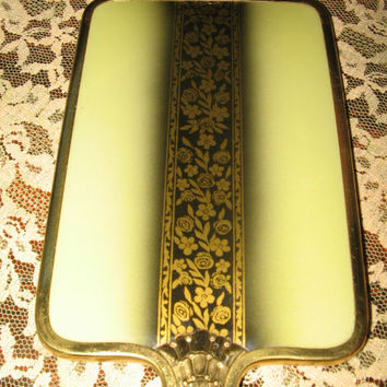 ART DECO VANITY Set, 1930's Mirror, Comb, Brush, Vanity Jars, Vintage Dressing Table