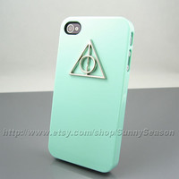 IPhone 4 Case, Deathly Hallows iPhone 4s Case, Harry Potter iPhone Case,Green iphone 4/4s case,with Silver logo