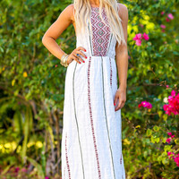 Believe in You Printed Texture Halter Neck Maxi Dress (Ivory)
