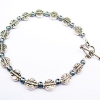 Funky Boho Silver Bracelet - Pewter Beads with Bluish-Gray Glass Spacers and Toggle Clasp